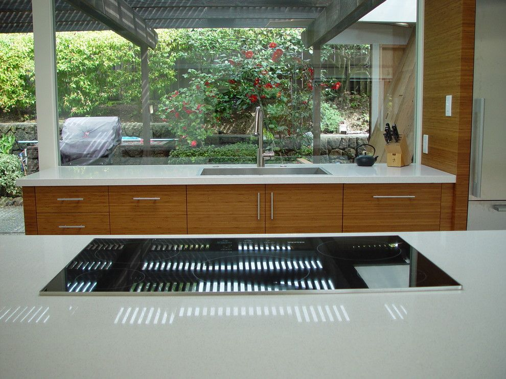 Eichler House for a Midcentury Kitchen with a Faucet and Mid Century Modern Kitchen - Cooktop + Sink (KPKM) by AlterECO,Inc