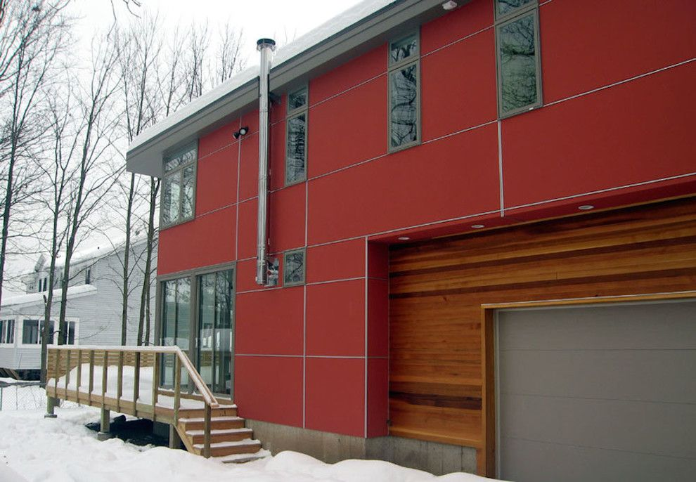 Eifs Siding for a Modern Exterior with a Red House and Saratoga Springs Residence by Leap Architecture