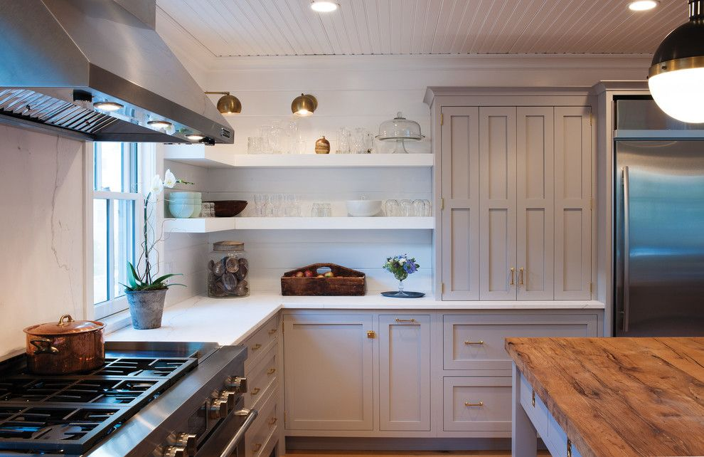 El Capitan High School for a Farmhouse Kitchen with a Floating Shelves and Farmhouse Kitchen with a Mid Century Twist by Crown Point Cabinetry