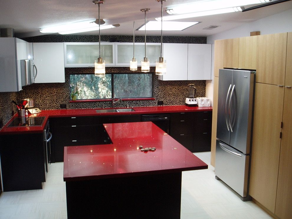 El Dorado Hills Theater for a Modern Kitchen with a Red and Streng Kitchen. Nar Fine Carpentry. Sacramento. El Dorado Hills by Nar Fine Carpentry, Inc./design.build.cabinetry