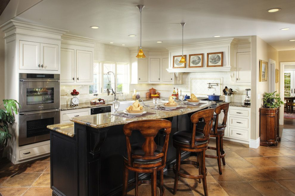El Dorado Hills Theater for a Traditional Kitchen with a Kitchen Island and Kitchen by Debbie R. Gualco