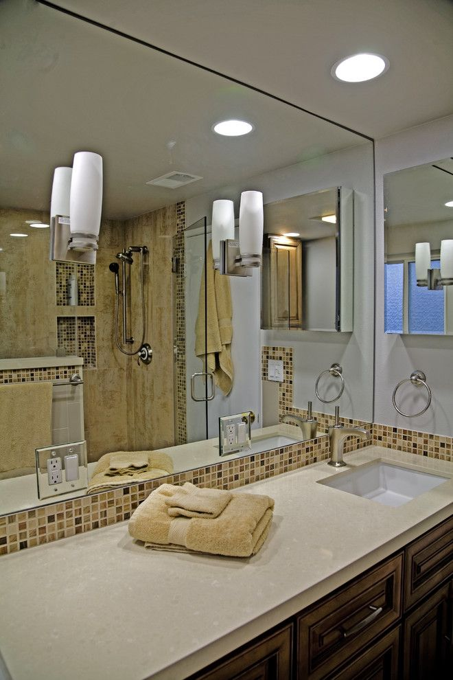 Electic for a Contemporary Bathroom with a Wood Cabinets and Hermogeno Designs by Hermogeno Designs