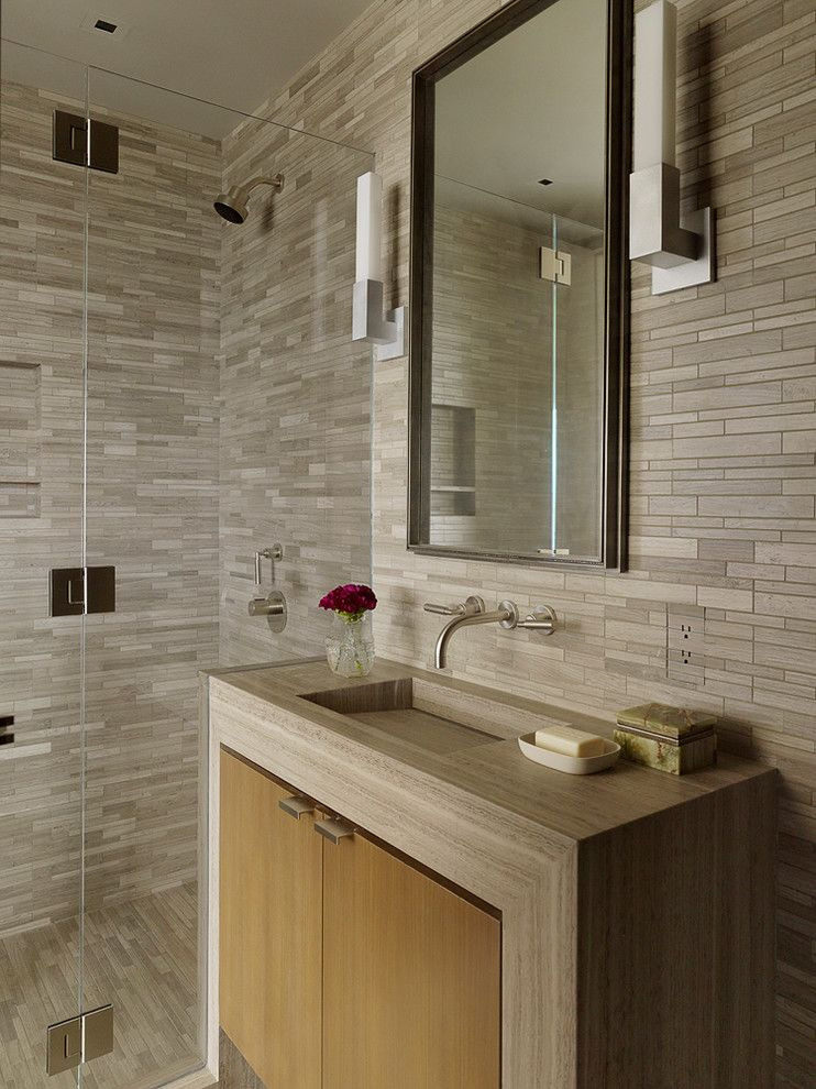 Electic for a Contemporary Bathroom with a Wood Vanity Doors and Taylor Street High Rise Apartmentt by Sutro Architects