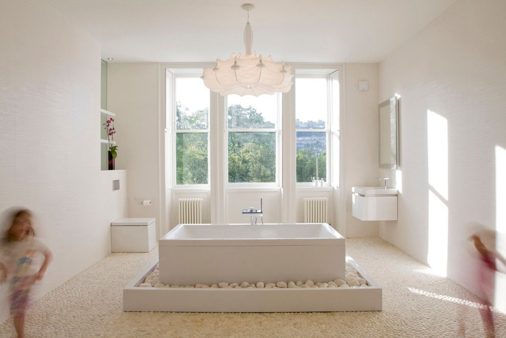 Electic for a Modern Bathroom with a White Chandelier and Master en Suite   Bath, England by Deana Ashby   Bathrooms & Interiors