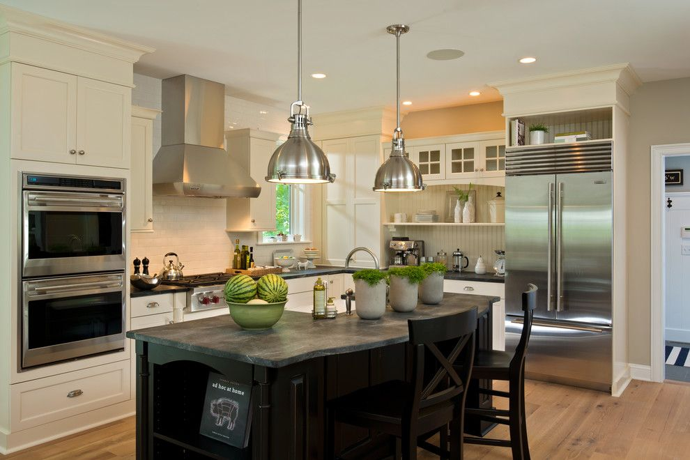 Electic for a Traditional Kitchen with a Island Seating and 2013 Parade of Homes   Pinnacle Homes Winner   Best Kitchen by Columbia Cabinets