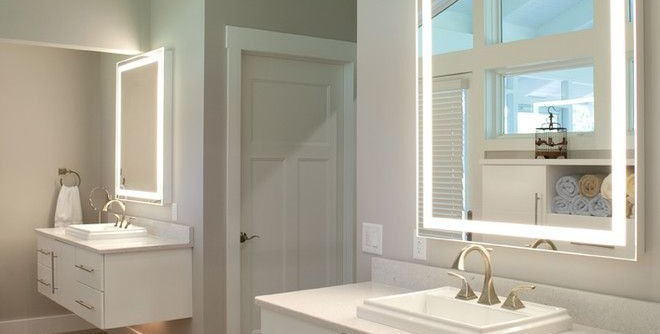 Electric Company Cast for a Contemporary Bathroom with a Lighted Mirror and Greene County Master Bathroom by Nest Designs LLC