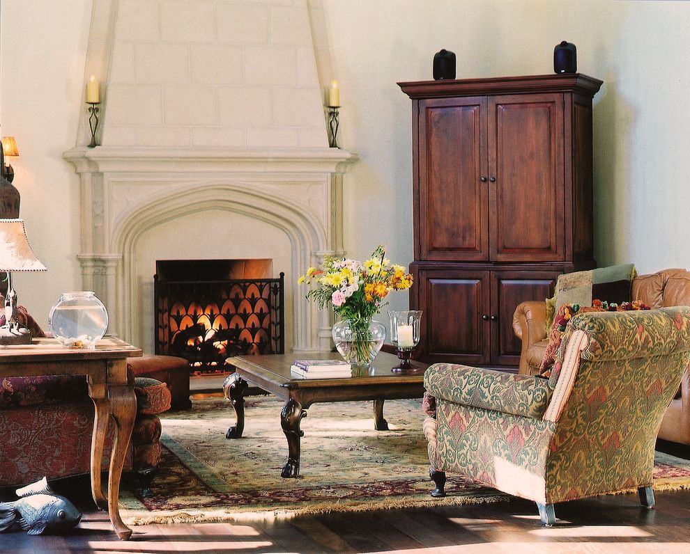 Electric Company Cast for a Traditional Living Room with a Gothic Arch and Sunbury Mantel with Overmantel by Tartaruga Design Inc.