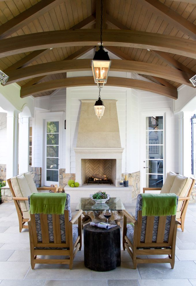 Electric Company Cast for a Transitional Patio with a Stone Patio and Palisades Riviera by Jackson Paige Interiors, Inc.