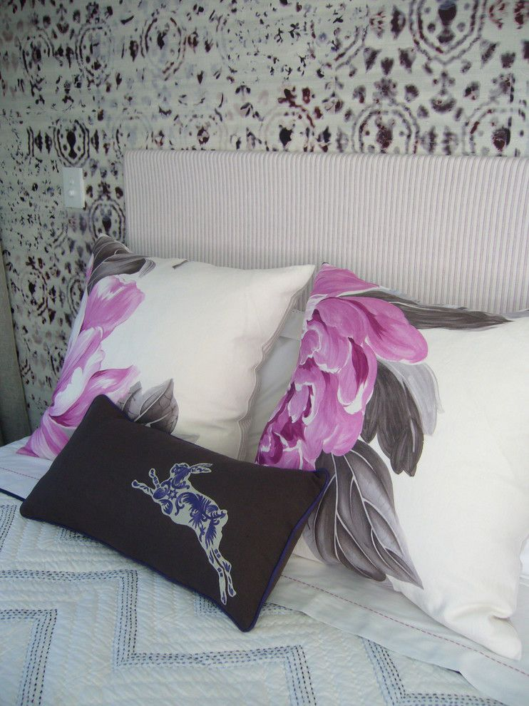 Elitis for a Eclectic Bedroom with a Designers Guild Bedding and Private Home, Tai Tapu by Furnishscene