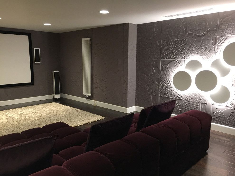 Elitis for a Traditional Home Theater with a Elitis and Z Townhouse by Fj Interior Design