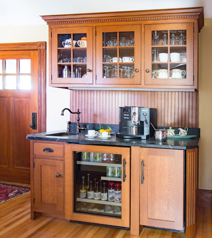 Elkay.com for a Traditional Home Bar with a Thermador and Melrose Graham Kitchen by Heartwood Kitchens