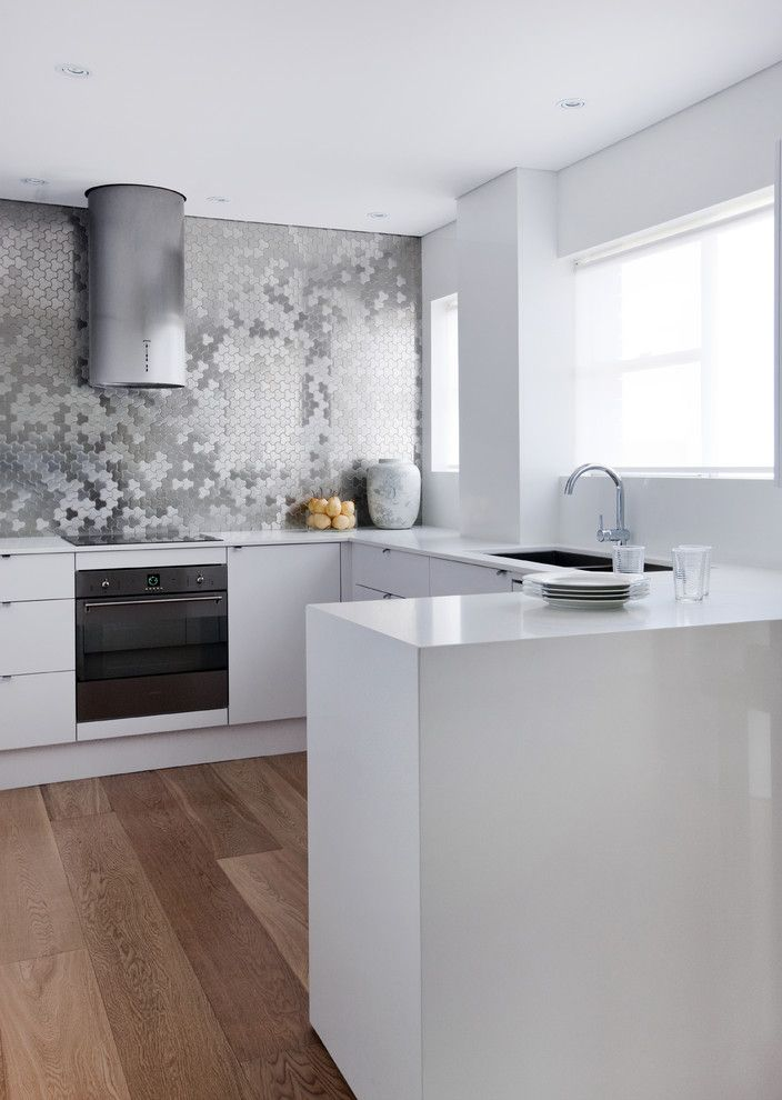 Emkay for a Contemporary Kitchen with a Wall Tile and ALLOY Metal Tiles - Sydney Kitchen by ALLOY Solid Metal Tiles