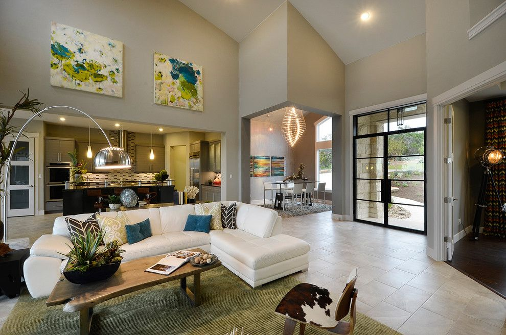 Emkay for a Contemporary Living Room with a Driftwood Coffee Table and Parade Home by Pillar Custom Homes, Inc.