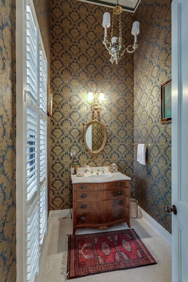 Enterprise Naples Fl for a Traditional Powder Room with a Chandelier and Peacock Residence   Quail Creek Cc, Naples by Home Photo Architectural Photography