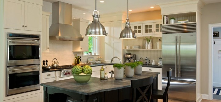 Enterprise Simi Valley for a Traditional Kitchen with a Wood Floor and 2013 Parade of Homes - Pinnacle Homes Winner - Best Kitchen by Columbia Cabinets