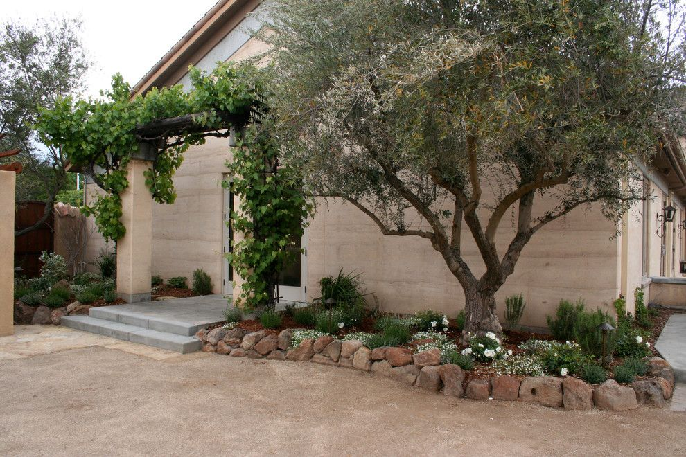 Espalier Fruit Trees for a Mediterranean Landscape with a Rocks and Ramekins Culinery & Event Center by Franciscan Landscape