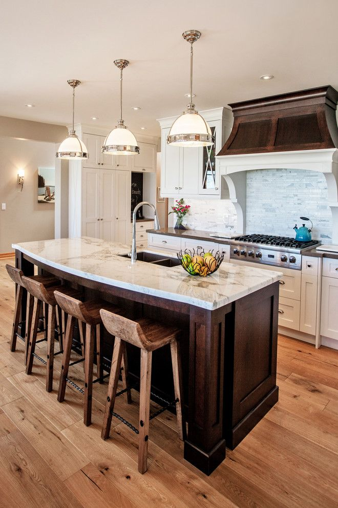 Espreso for a Beach Style Kitchen with a Chrome and Glass Pendants and White and Wood Beach House by Madison Taylor
