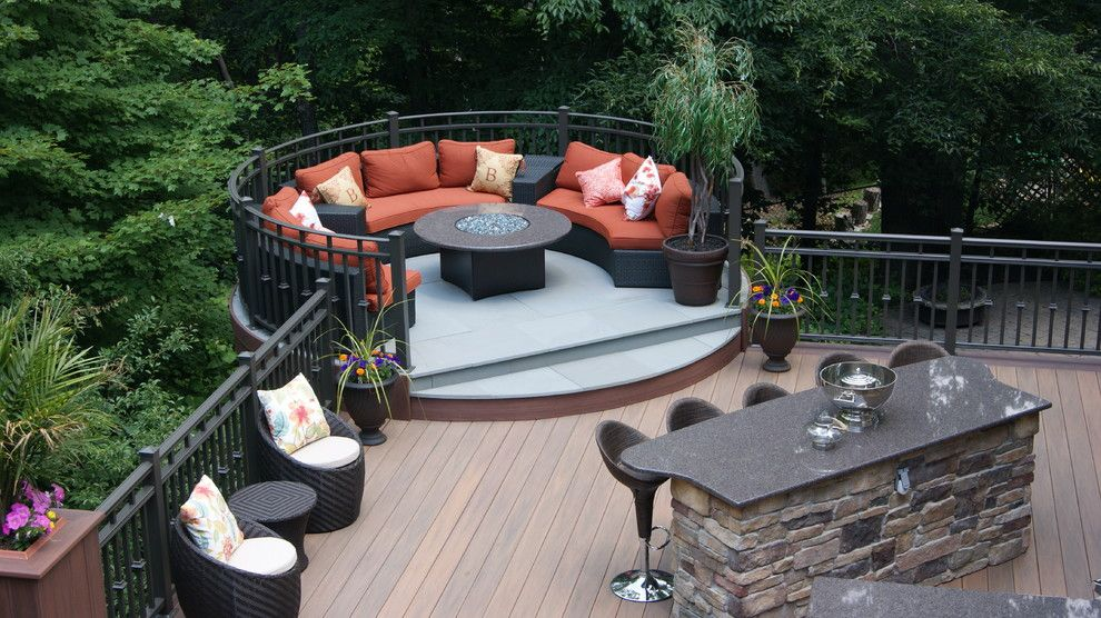 Essex Fells Nj for a Contemporary Deck with a Mountain Lakes and National Award Winning Deck 2014! Luxury Outdoor Living in Denville, Nj by Deck Remodelers.com