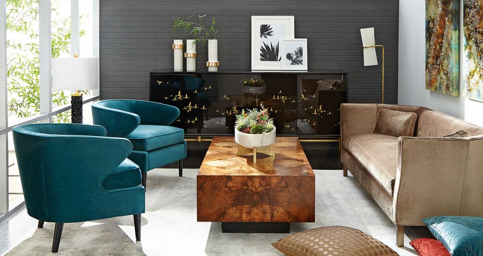 Essex Fells Nj for a Midcentury Living Room with a Gray Painted Brick Wall and Horchow by Horchow