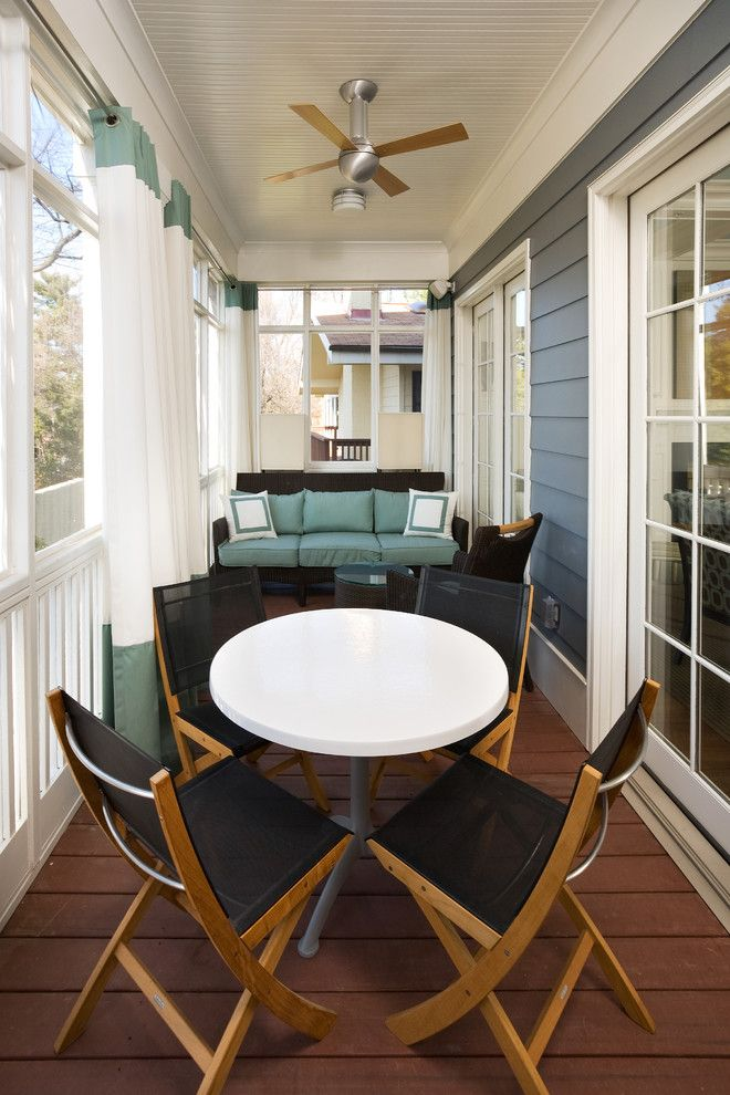 Euro Sham Size for a Contemporary Balcony with a Painted Beadboard Ceiling and Porch by Sroka Design, Inc.