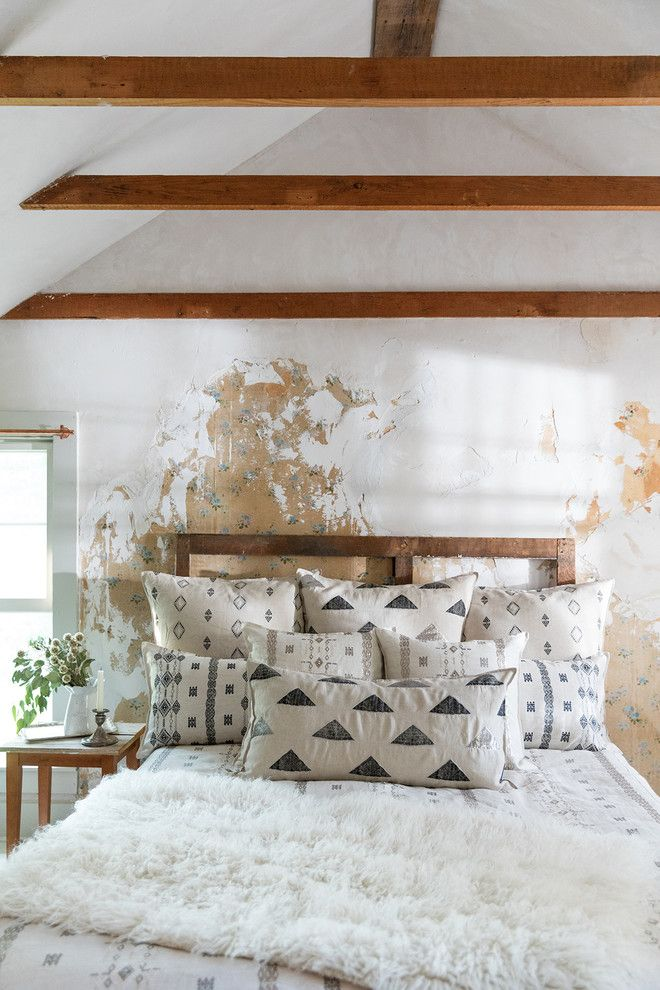 Euro Sham Size for a Farmhouse Bedroom with a White Walls and Berber Bedscape by Coral & Tusk