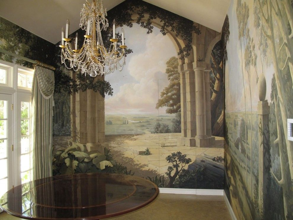 Evans Landscaping for a  Dining Room with a Mural and Private Views by Evans & Brown