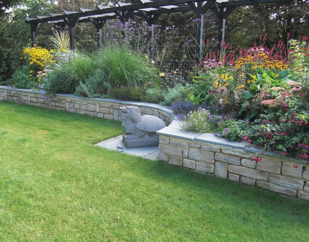 Evans Landscaping for a Modern Landscape with a Sloping Garden Design and Steeply Sloping Large Garden in Surrey, Uk by Linsey Evans Garden Design