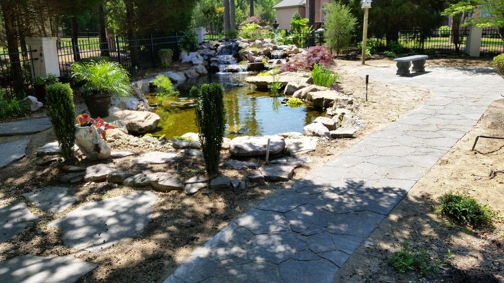 Evans Landscaping for a  Spaces with a Hardscapes and Koi Pond with Waterfalls and Patio / Walkway in Blythewood Sc by Mccormick Landscaping / Aquatic Solutions