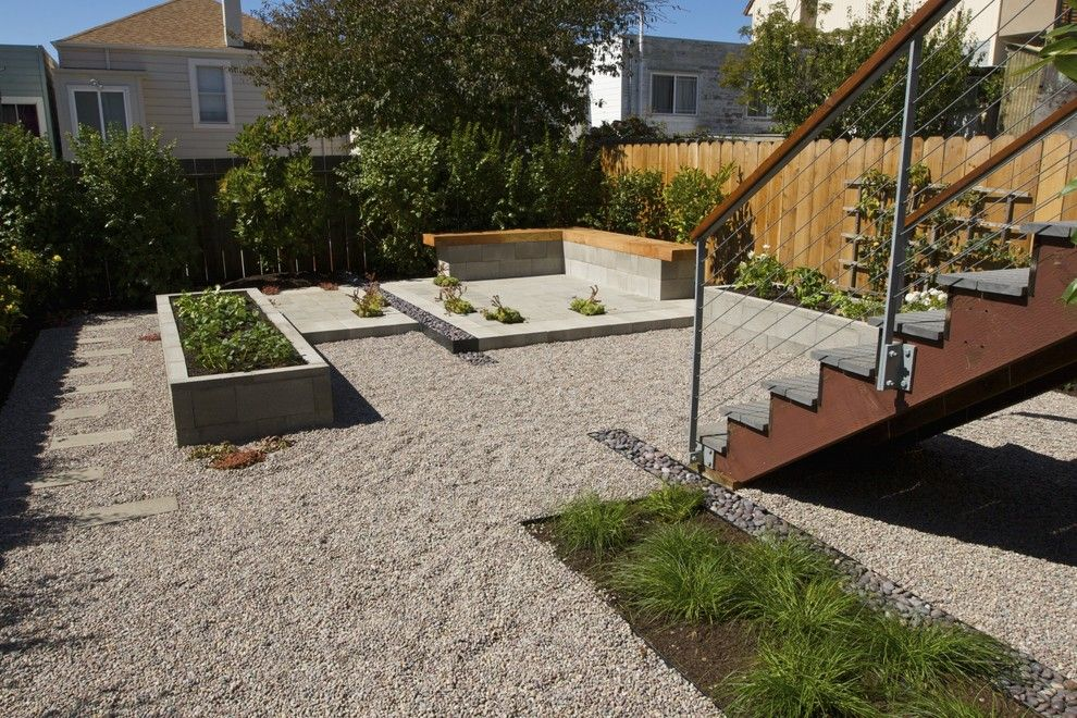 Ewing Irrigation for a Contemporary Landscape with a Gravel and Backyard by Terra Ferma Landscapes