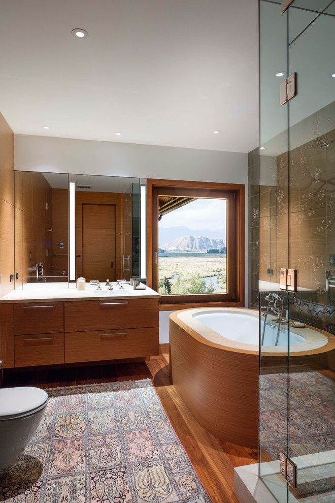 Exploratorium San Francisco for a Contemporary Bathroom with a Tub Surround and Mountain Retreat by Studio Becker- Bespoke Cabinetry & Millwork