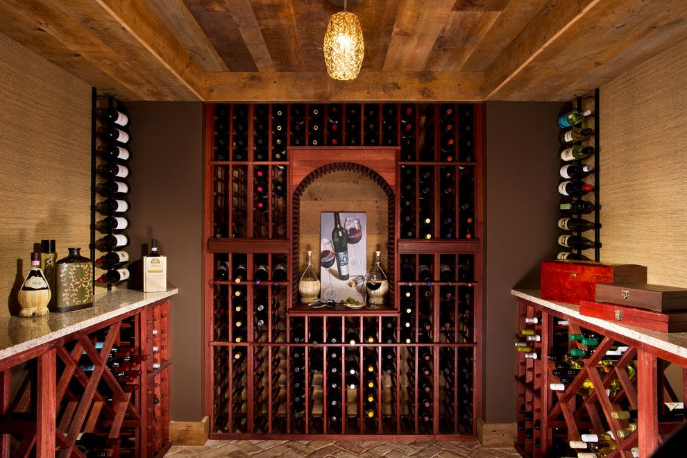 Eyebrow Arch for a Modern Wine Cellar with a Floating Vanity and House Blend by Teakwood Builders, Inc.