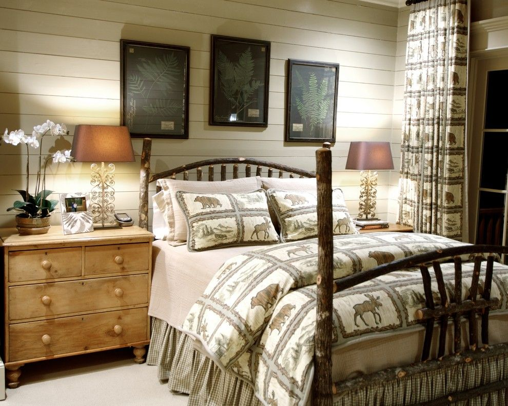 Fabric Stores Charlotte Nc for a Rustic Bedroom with a Bed and Home Design Photos by Jean Macrea Interiors, Inc.