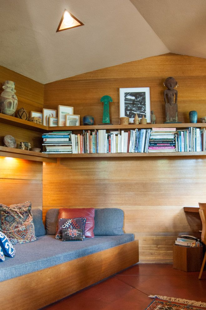 Falling Waters Frank Lloyd Wright for a Modern Home Office with a Mahogany and Houzz Tour: An Architectural Relic Thrives in the Heartland of Ohio by Adrienne Derosa