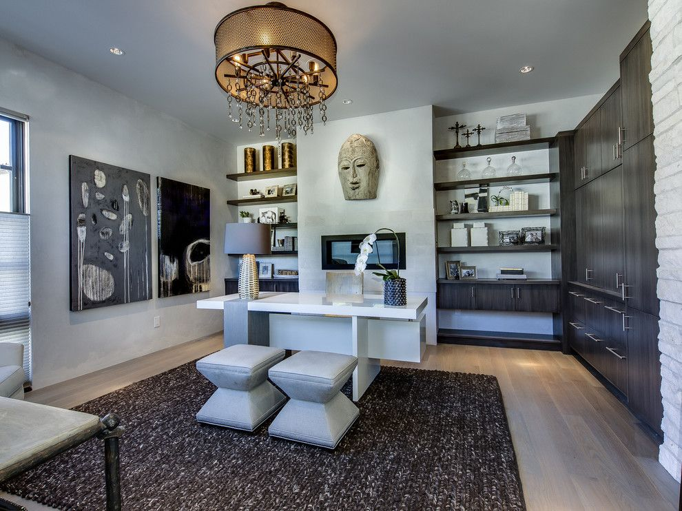 Famous Contemporary Artists for a Contemporary Home Office with a Open Shelves and Denver Design Showhome by Teri Fotheringham Photography