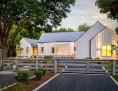 Fannin Tree Farm for a Farmhouse Exterior with a Gray Roof and Modern Farmhouse in Dallas, Texas by Olsen Studios