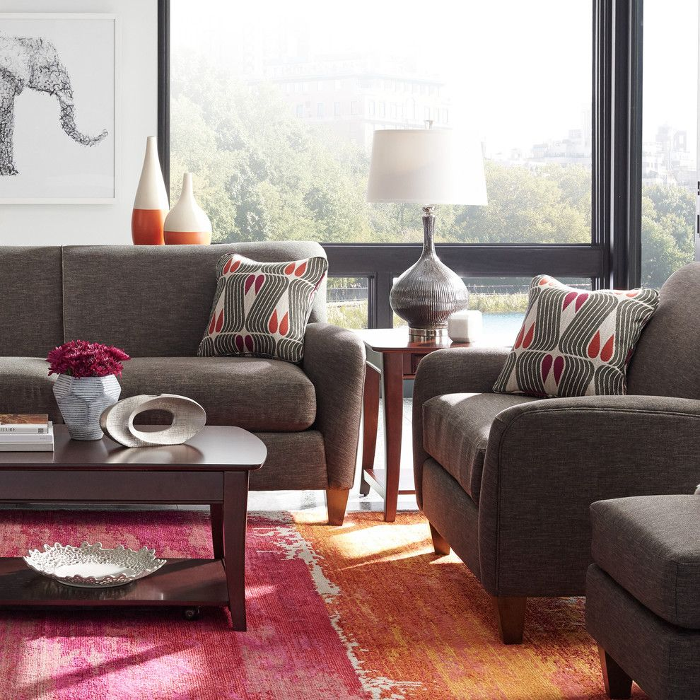 Fans Edge Promo Code for a Contemporary Living Room with a Pink Rug and La Z Boy by La Z Boy