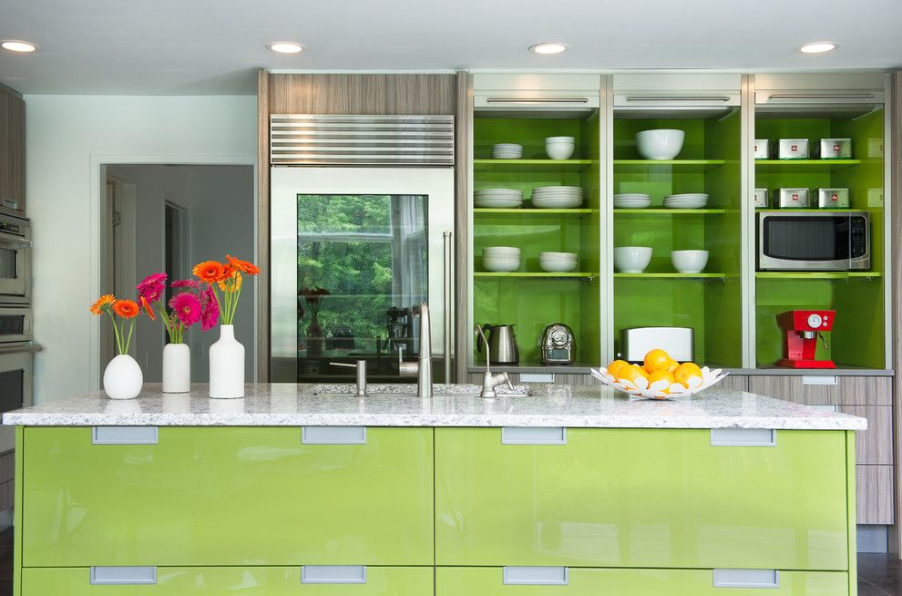 Farmgirl Flowers for a Contemporary Kitchen with a Wolf Appliances and Deane   Lime by Deane Inc | Rooms Everlasting