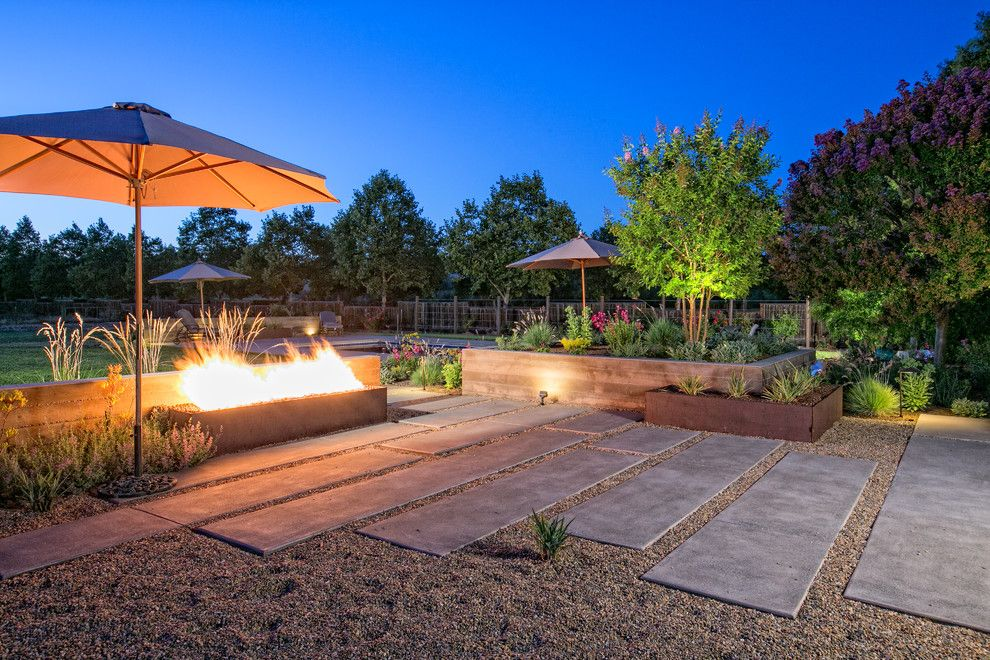 Farmstead St Helena for a Contemporary Landscape with a Narrow Concrete Pads and St Helena by Envision Landscape Studio