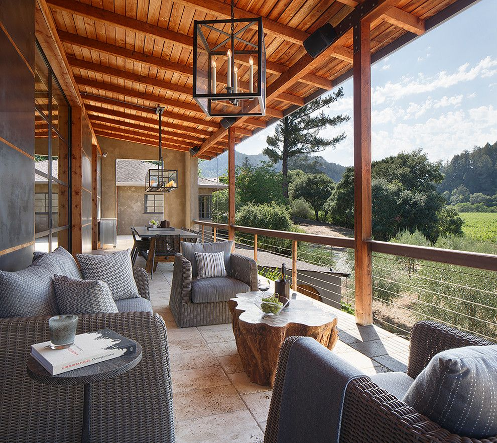 Farmstead St Helena for a Craftsman Balcony with a Beige Floor and St. Helena, Ca Residence by Weaver Design Group