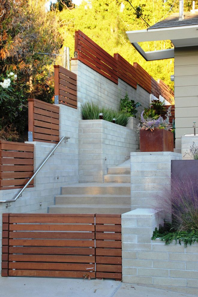Fenceworks for a Contemporary Landscape with a Corten Steel and Mission Terraces by Szabo Landscape Architecture