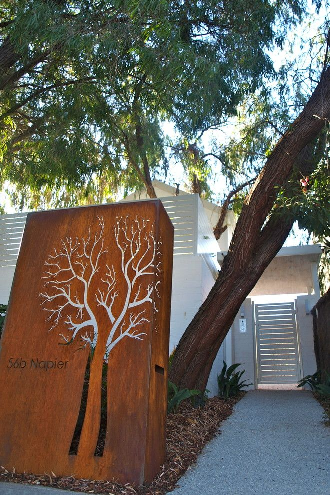 Feng Shui Front Door for a Contemporary Landscape with a Mail Box and Contemporary Garden Cottesloe Perth by Sustainable Garden Design Perth