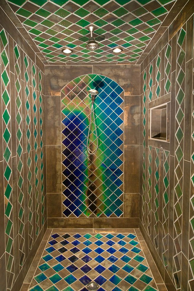 Ferguson Heating and Cooling for a Eclectic Bathroom with a Grants Pass Oregon and Mid Evil Custom Shower by Moving Color Studios