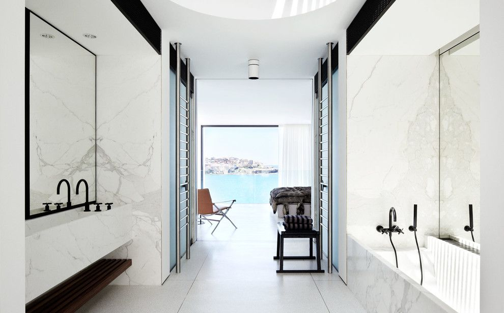 Ferguson Heating and Cooling for a Modern Bathroom with a Living Space and Bondi House by Redgen Mathieson Pty Ltd