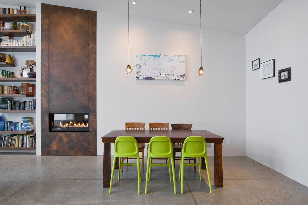 Fireplace Fashions for a Contemporary Dining Room with a Integrated Fireplace and My Houzz: The Thorns by Lucy Call