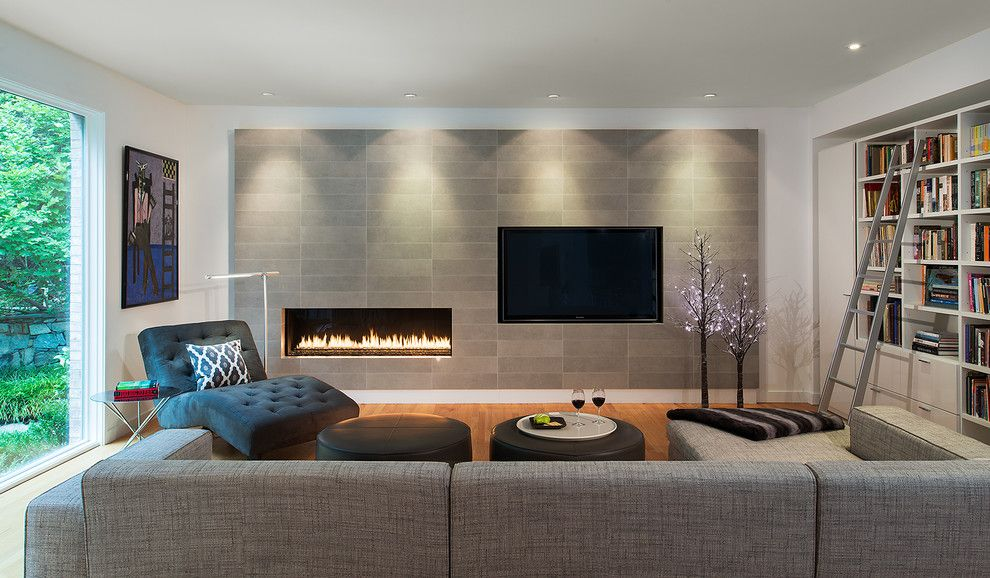 Fireplace Fashions for a Contemporary Living Room with a Fireplaces Stoves and First Floor Remodel   Potomac, Md by Carnemark Design + Build