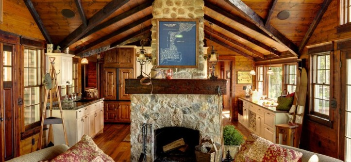 Fireplace Fashions for a Rustic Living Room with a Fireplace Accessories and Woman Lake by Michelle Fries, BeDe Design, LLC