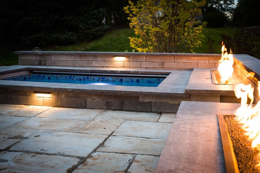 Fireside Furniture for a Contemporary Landscape with a Outdoor Living and Fire and Water in Wheaton by Bruss Landscaping, Inc.