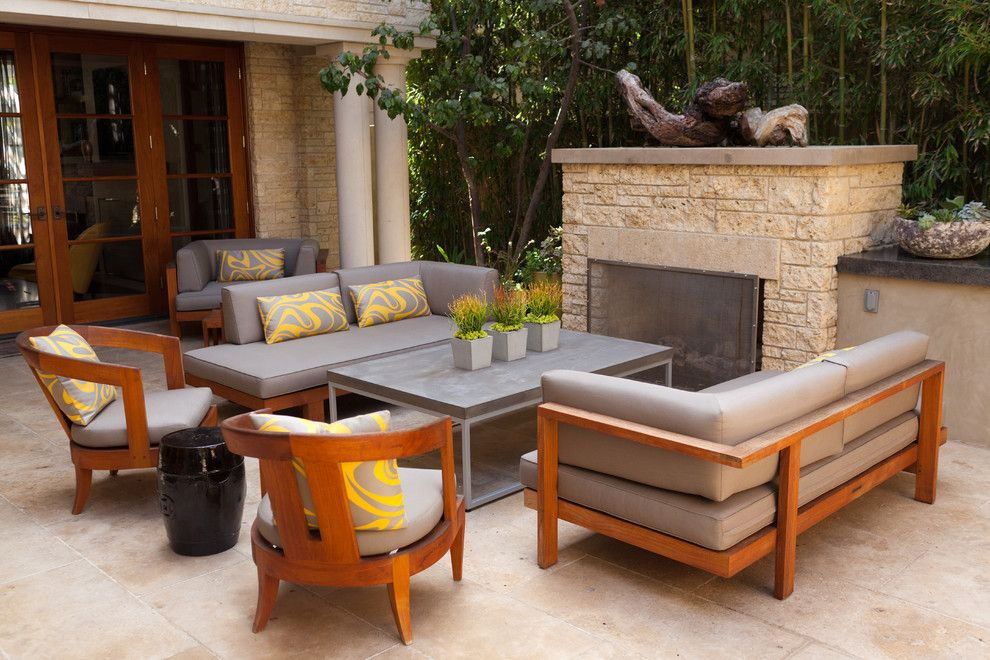 Fireside Furniture for a Contemporary Landscape with a Stonework and Bayshores #1 by Garden Studio