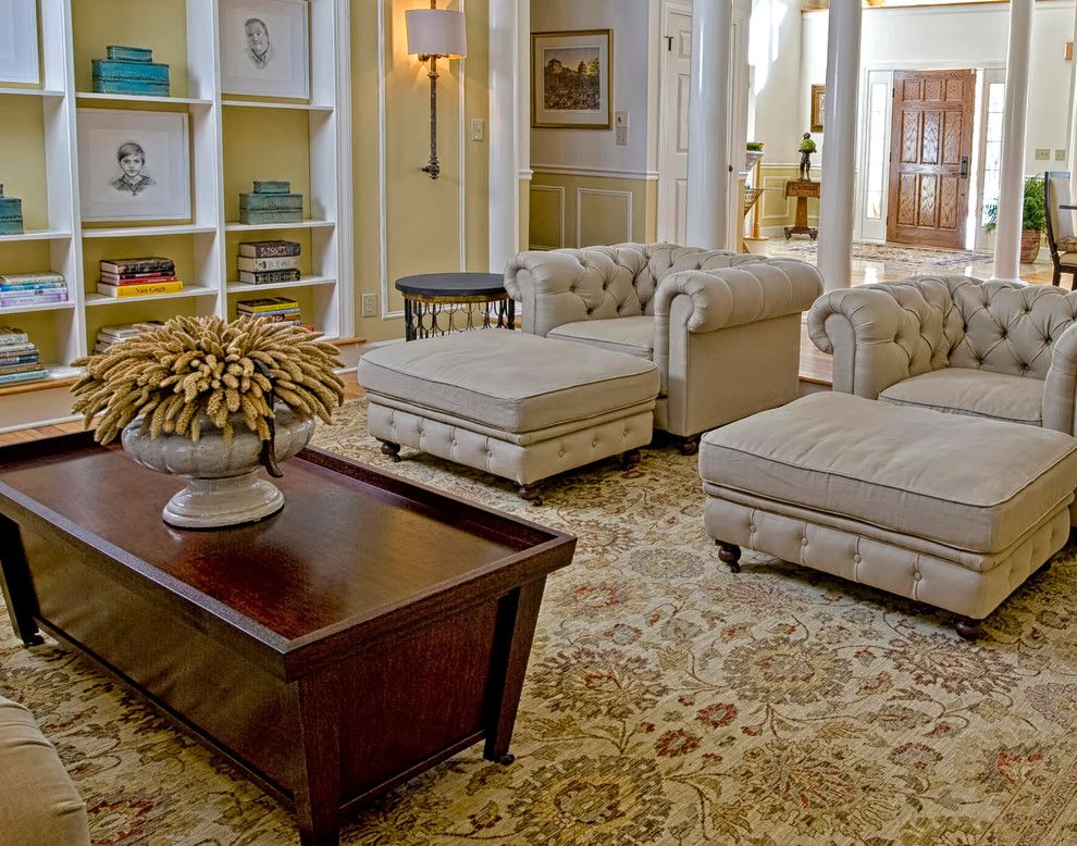 Fireside Furniture for a Transitional Living Room with a Metal Furniture and Custom Designed Furniture by K.d. Ellis Interiors by K. D. Ellis Interiors