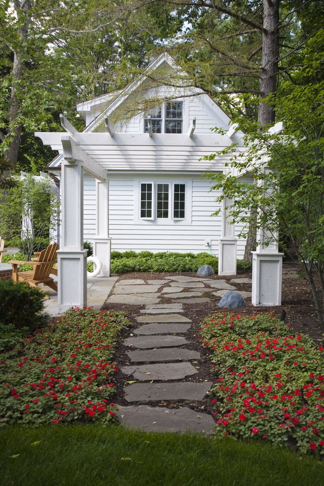 Flatstock for a Traditional Landscape with a Pavers and Pool House by Lellbach Builders
